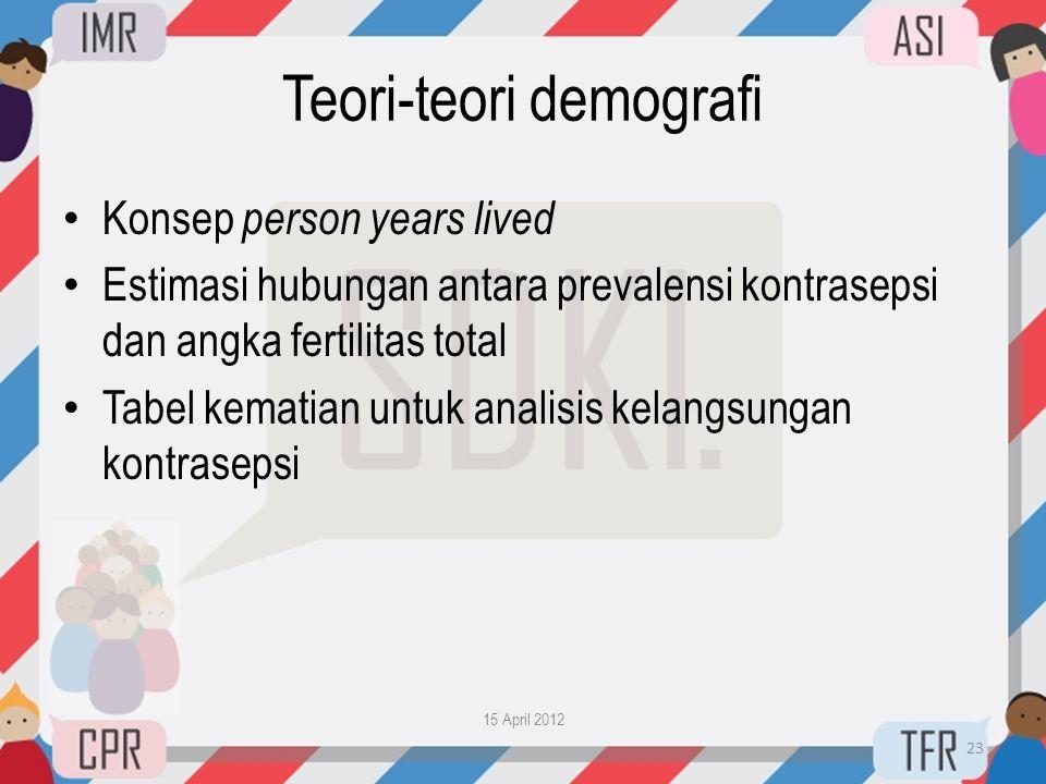 Teori-teori demografi • Konsep person years lived • Estimasi hubungan antara prevalensi kontrasepsi dan angka fertilitas total • Tabel kematian untuk