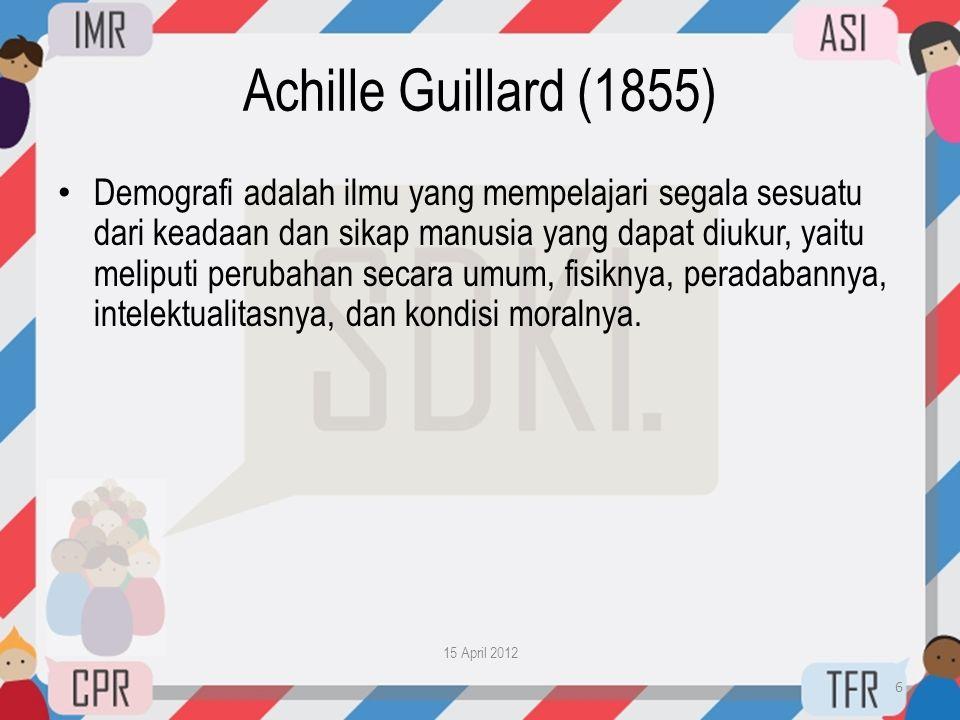 Achille Guillard (1855) • Demografi adalah ilmu yang mempelajari segala sesuatu dari keadaan dan sikap manusia yang dapat diukur, yaitu meliputi perub