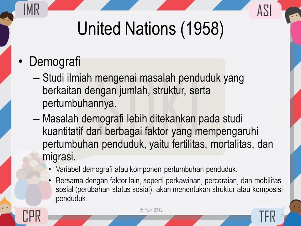 United Nations (1958) • Demografi – Studi ilmiah mengenai masalah penduduk yang berkaitan dengan jumlah, struktur, serta pertumbuhannya. – Masalah dem