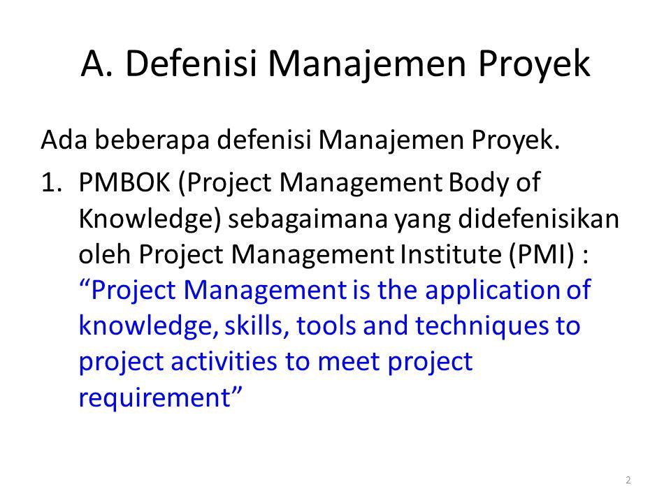 A.Defenisi Manajemen Proyek Ada beberapa defenisi Manajemen Proyek.