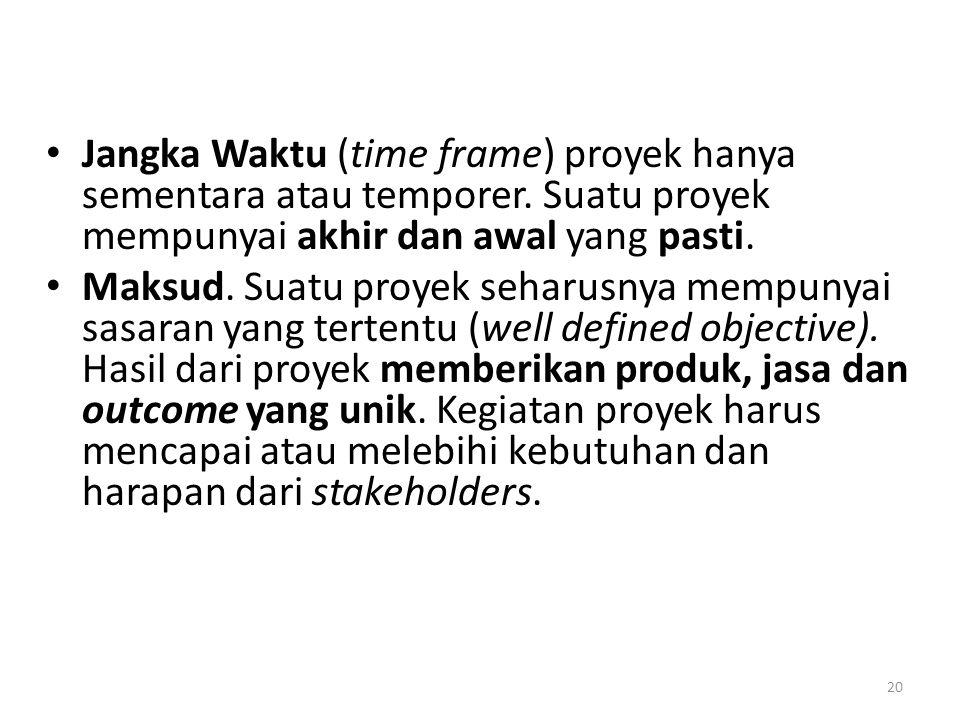 • Jangka Waktu (time frame) proyek hanya sementara atau temporer.