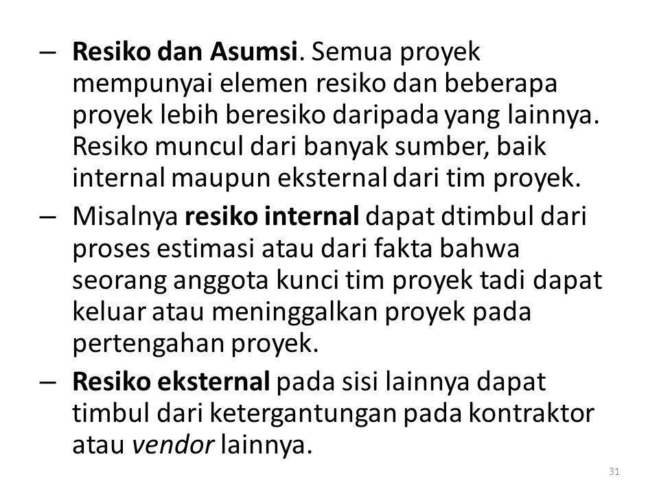 – Resiko dan Asumsi.
