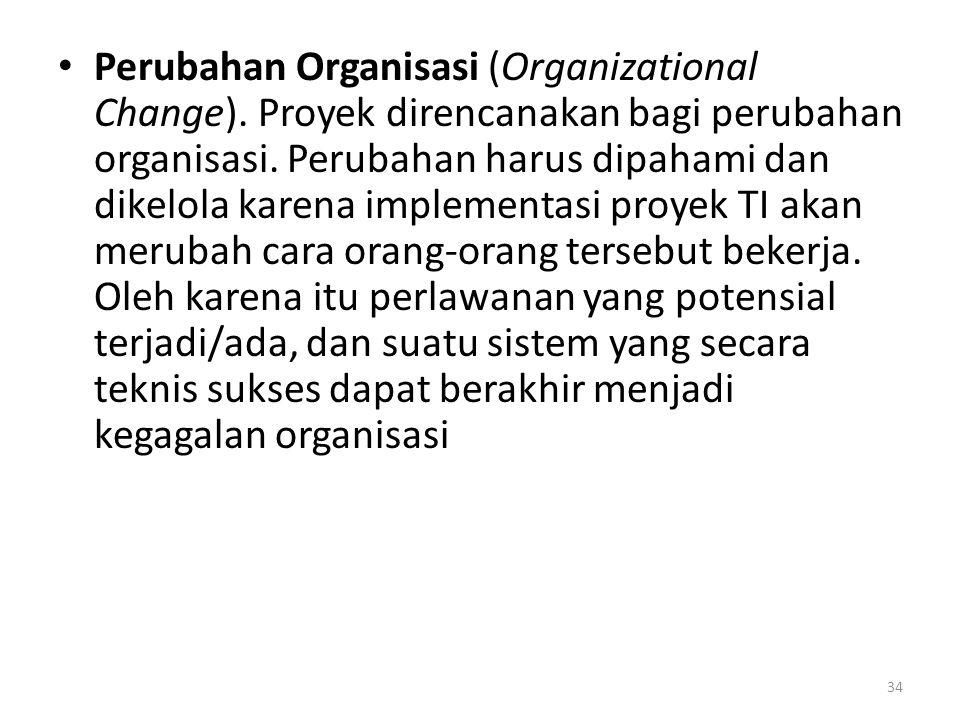 • Perubahan Organisasi (Organizational Change).Proyek direncanakan bagi perubahan organisasi.