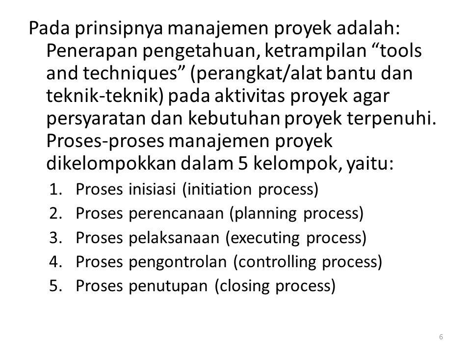 Pada prinsipnya manajemen proyek adalah: Penerapan pengetahuan, ketrampilan tools and techniques (perangkat/alat bantu dan teknik-teknik) pada aktivitas proyek agar persyaratan dan kebutuhan proyek terpenuhi.