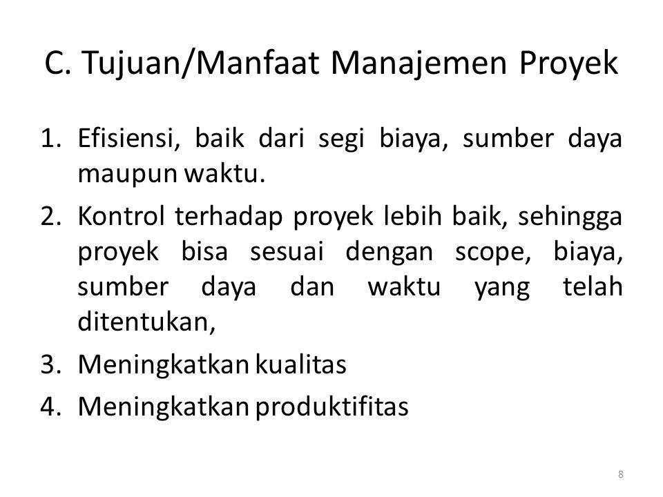 C.Tujuan/Manfaat Manajemen Proyek 1.Efisiensi, baik dari segi biaya, sumber daya maupun waktu.