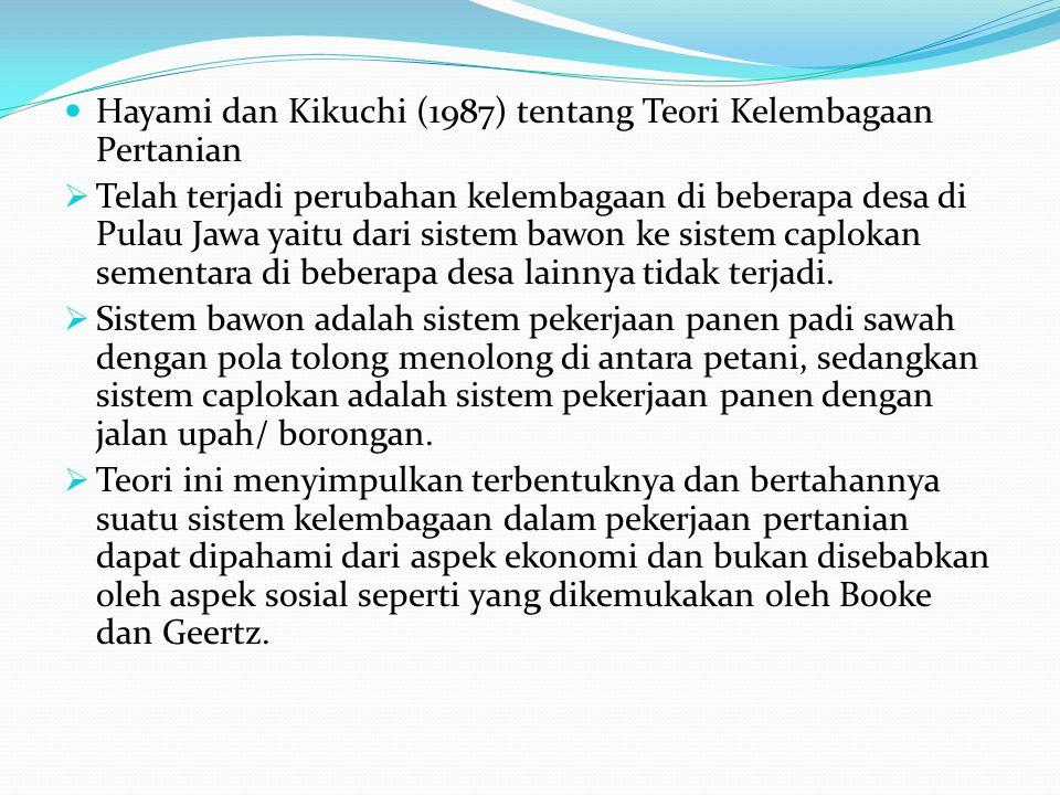  Hayami dan Kikuchi (1987) tentang Teori Kelembagaan Pertanian  Telah terjadi perubahan kelembagaan di beberapa desa di Pulau Jawa yaitu dari sistem