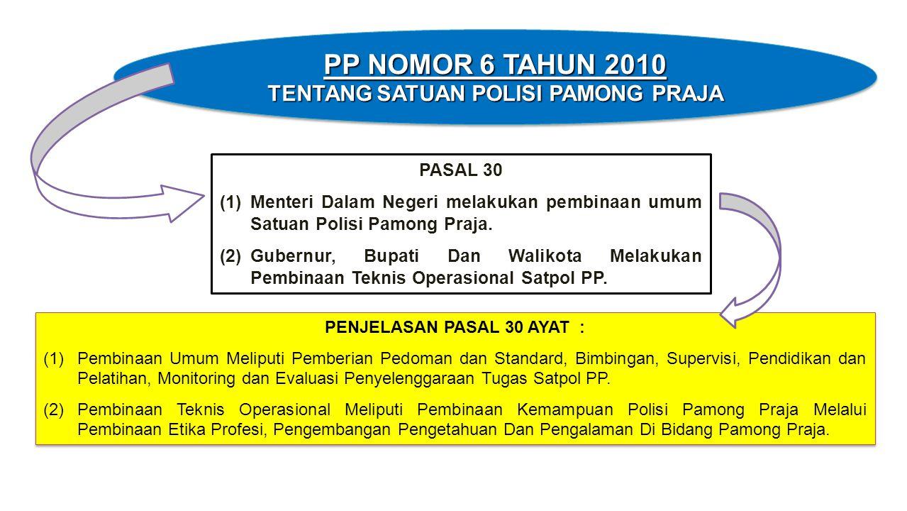 PASAL 30 (1)Menteri Dalam Negeri melakukan pembinaan umum Satuan Polisi Pamong Praja. (2)Gubernur, Bupati Dan Walikota Melakukan Pembinaan Teknis Oper