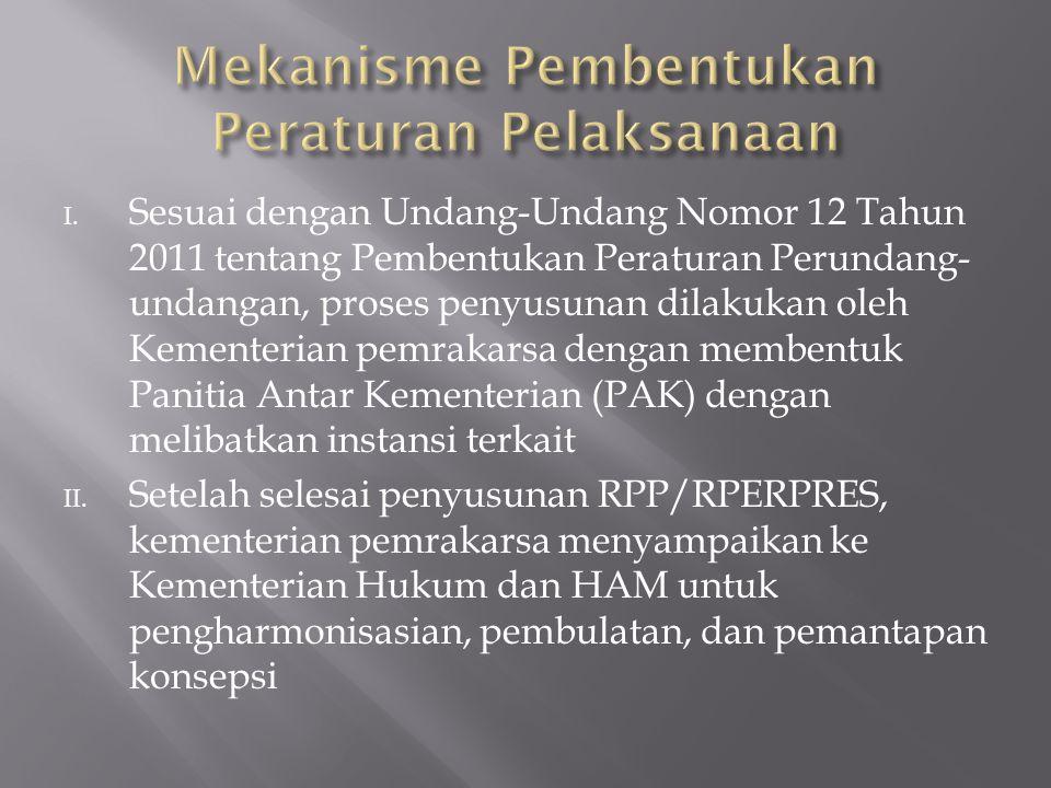 I. Sesuai dengan Undang-Undang Nomor 12 Tahun 2011 tentang Pembentukan Peraturan Perundang- undangan, proses penyusunan dilakukan oleh Kementerian pem