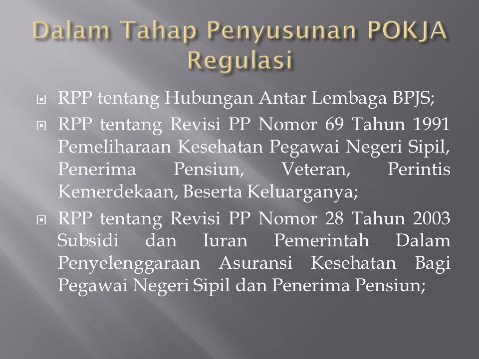  RPP tentang Hubungan Antar Lembaga BPJS;  RPP tentang Revisi PP Nomor 69 Tahun 1991 Pemeliharaan Kesehatan Pegawai Negeri Sipil, Penerima Pensiun, Veteran, Perintis Kemerdekaan, Beserta Keluarganya;  RPP tentang Revisi PP Nomor 28 Tahun 2003 Subsidi dan Iuran Pemerintah Dalam Penyelenggaraan Asuransi Kesehatan Bagi Pegawai Negeri Sipil dan Penerima Pensiun;