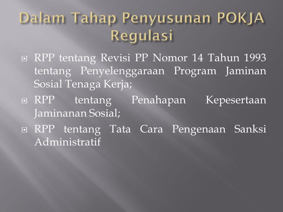  RPP tentang Revisi PP Nomor 14 Tahun 1993 tentang Penyelenggaraan Program Jaminan Sosial Tenaga Kerja;  RPP tentang Penahapan Kepesertaan Jaminanan Sosial;  RPP tentang Tata Cara Pengenaan Sanksi Administratif