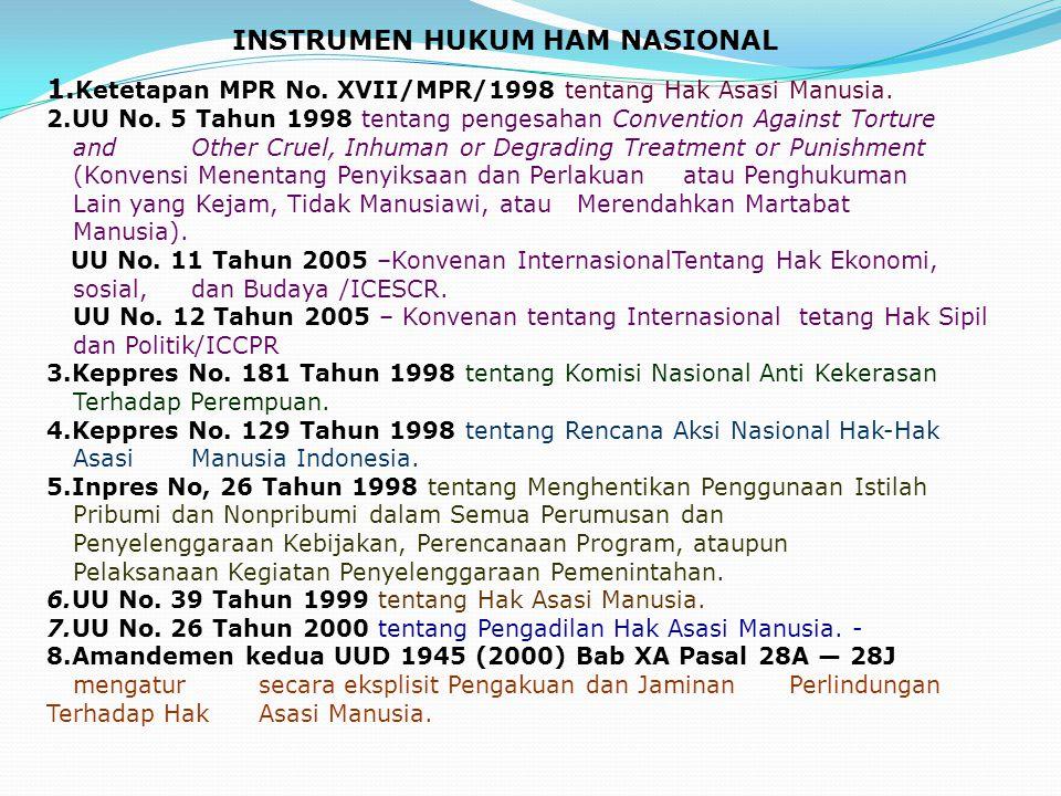 1. Ketetapan MPR No. XVII/MPR/1998 tentang Hak Asasi Manusia. 2.UU No. 5 Tahun 1998 tentang pengesahan Convention Against Torture and Other Cruel, Inh