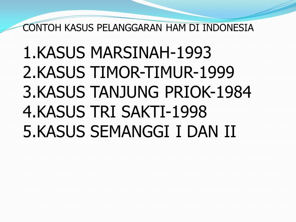 CONTOH KASUS PELANGGARAN HAM DI INDONESIA 1.KASUS MARSINAH-1993 2.KASUS TIMOR-TIMUR-1999 3.KASUS TANJUNG PRIOK-1984 4.KASUS TRI SAKTI-1998 5.KASUS SEM