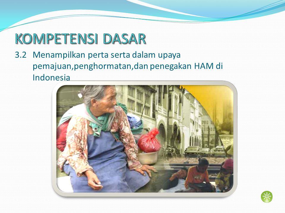3.2 Menampilkan perta serta dalam upaya pemajuan,penghormatan,dan penegakan HAM di Indonesia