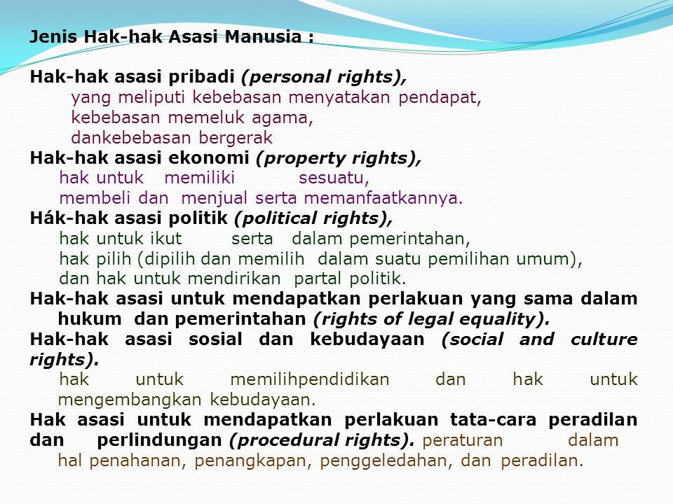 Jenis Hak-hak Asasi Manusia : Hak-hak asasi pribadi (personal rights), yang meliputi kebebasan menyatakan pendapat, kebebasan memeluk agama, dankebeba
