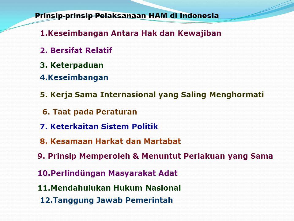 Prinsip-prinsip Pelaksanaan HAM di Indonesia 1.Keseimbangan Antara Hak dan Kewajiban 2. Bersifat Relatif 3. Keterpaduan 4.Keseimbangan 5. Kerja Sama I
