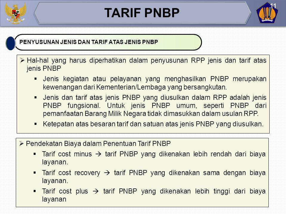 Tarif atas jenis PNBP ditetapkan dalam UU atau PP dengan memperhatikan dampak pengenaan terhadap masyarakat biaya penyelenggaraan kegiatan pemerintah