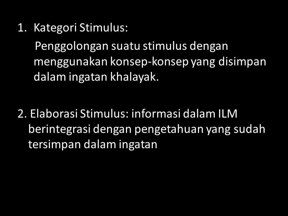 1.Kategori Stimulus: Penggolongan suatu stimulus dengan menggunakan konsep-konsep yang disimpan dalam ingatan khalayak. 2. Elaborasi Stimulus: informa