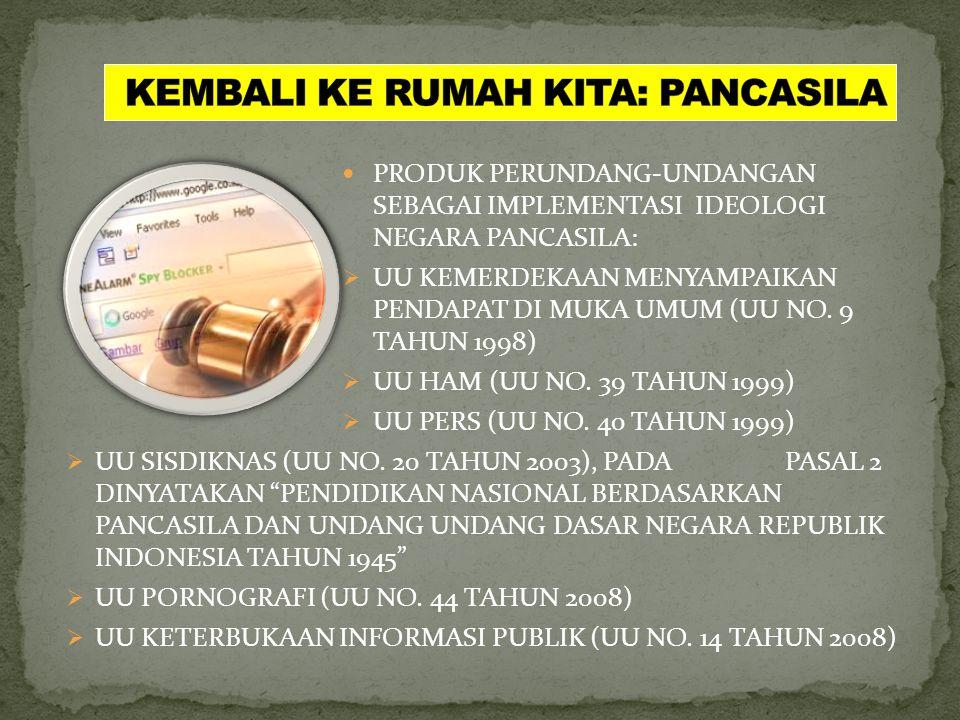 KEMBALI KE RUMAH KITA: PANCASILA  PENGATURAN HAM SECARA LENGKAP (PASAL 28A HINGGA 28J)  PENGATURAN TENTANG NKRI (PASAL 25A), LAMBANG NEGARA (PASAL 3