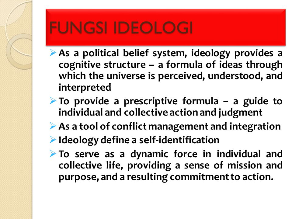 DIMENSI IDEOLOGI (REJAI,1991) 1.Cognition: knowledge and belief 2.Affect: feelings and emotions 3.Valuation: norms and judgments 4.Program: plans and