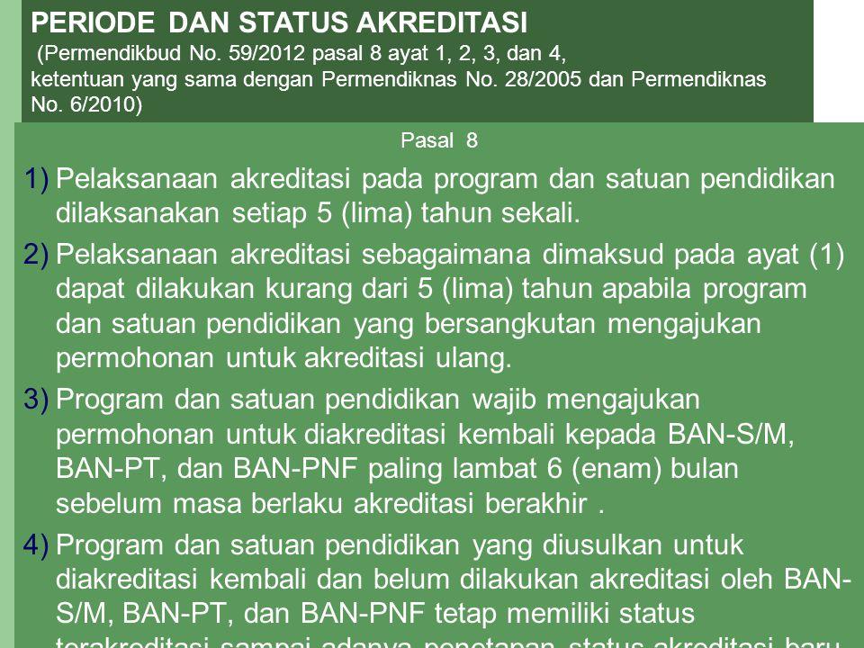 11 PERIODE DAN STATUS AKREDITASI (Permendikbud No. 59/2012 pasal 8 ayat 1, 2, 3, dan 4, ketentuan yang sama dengan Permendiknas No. 28/2005 dan Permen