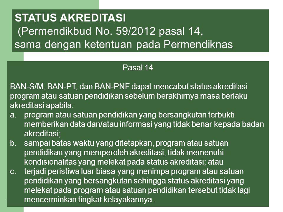 12 STATUS AKREDITASI (Permendikbud No. 59/2012 pasal 14, sama dengan ketentuan pada Permendiknas Pasal 14 BAN-S/M, BAN-PT, dan BAN-PNF dapat mencabut
