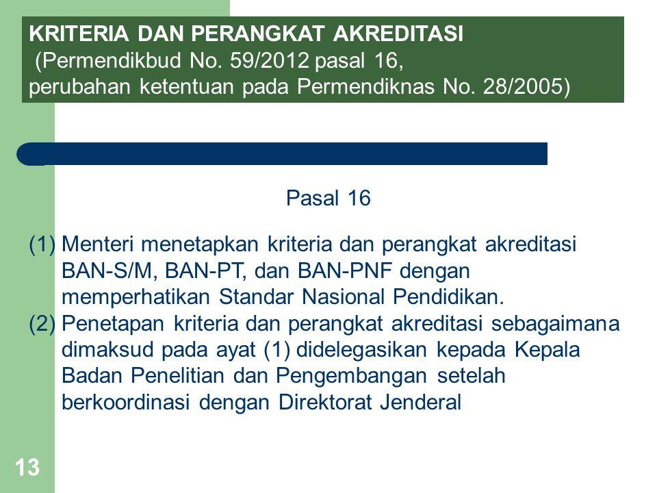 13 KRITERIA DAN PERANGKAT AKREDITASI (Permendikbud No. 59/2012 pasal 16, perubahan ketentuan pada Permendiknas No. 28/2005) Pasal 16 (1)Menteri meneta