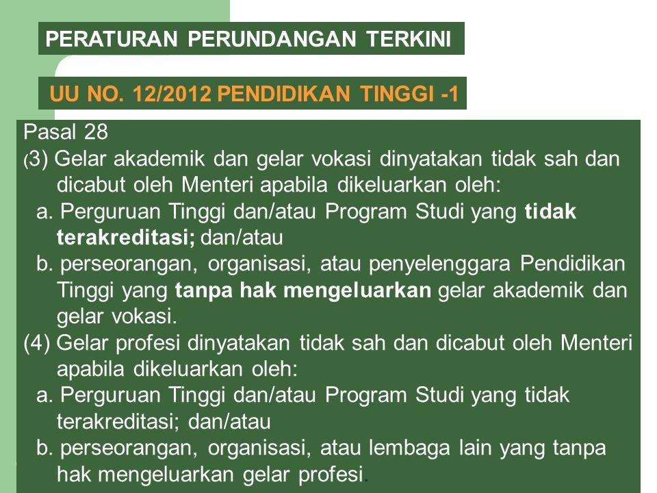 14 PERATURAN PERUNDANGAN TERKINI UU NO. 12/2012 PENDIDIKAN TINGGI -1 Pasal 28 ( 3) Gelar akademik dan gelar vokasi dinyatakan tidak sah dan dicabut ol