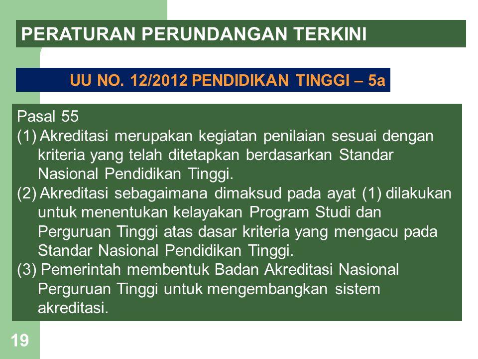 19 PERATURAN PERUNDANGAN TERKINI UU NO. 12/2012 PENDIDIKAN TINGGI – 5a Pasal 55 (1) Akreditasi merupakan kegiatan penilaian sesuai dengan kriteria yan