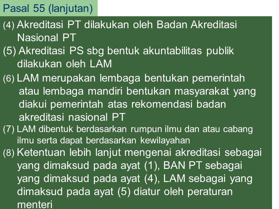 20 Pasal 55 (lanjutan) (6) LAM merupakan lembaga bentukan pemerintah atau lembaga mandiri bentukan masyarakat yang diakui pemerintah atas rekomendasi