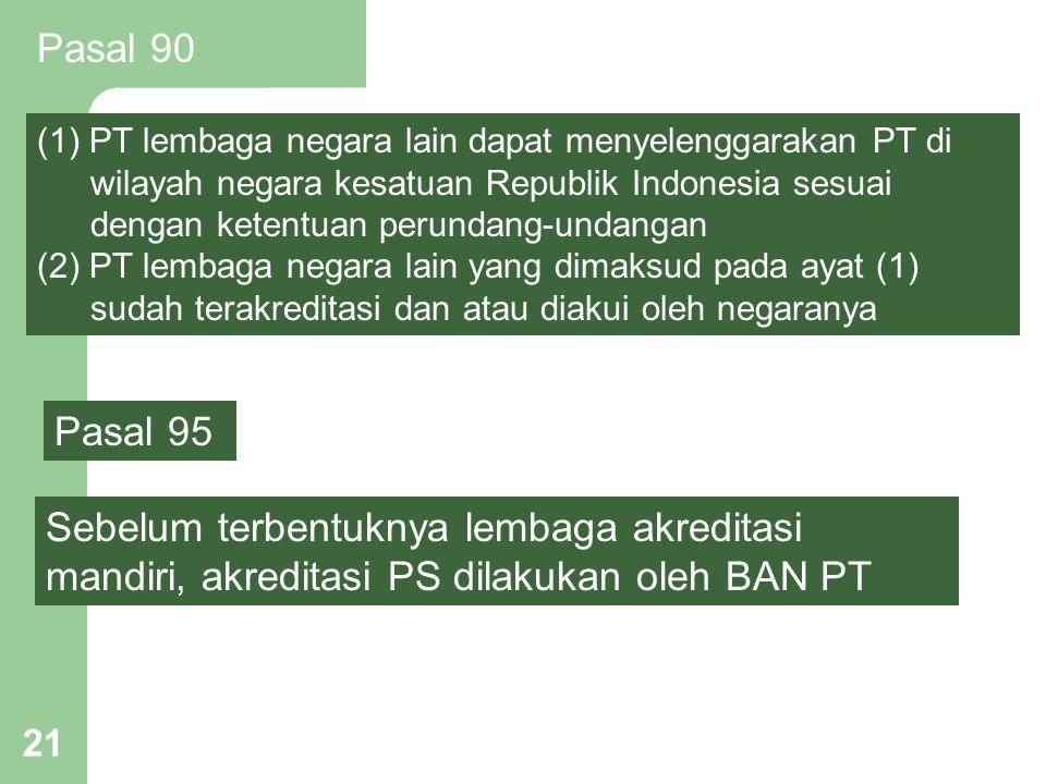 21 Sebelum terbentuknya lembaga akreditasi mandiri, akreditasi PS dilakukan oleh BAN PT Pasal 95 Pasal 90 (1) PT lembaga negara lain dapat menyelengga