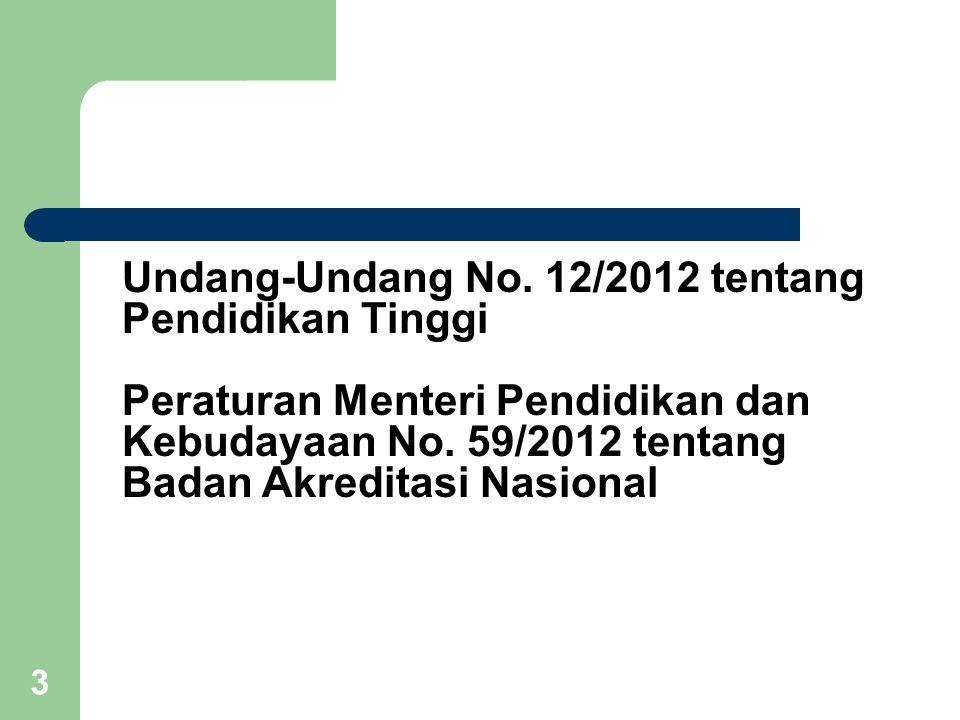 3 Undang-Undang No. 12/2012 tentang Pendidikan Tinggi Peraturan Menteri Pendidikan dan Kebudayaan No. 59/2012 tentang Badan Akreditasi Nasional
