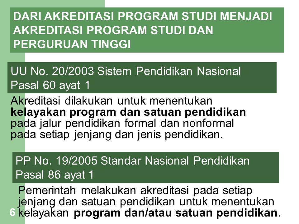 6 DARI AKREDITASI PROGRAM STUDI MENJADI AKREDITASI PROGRAM STUDI DAN PERGURUAN TINGGI UU No. 20/2003 Sistem Pendidikan Nasional Pasal 60 ayat 1 Akredi