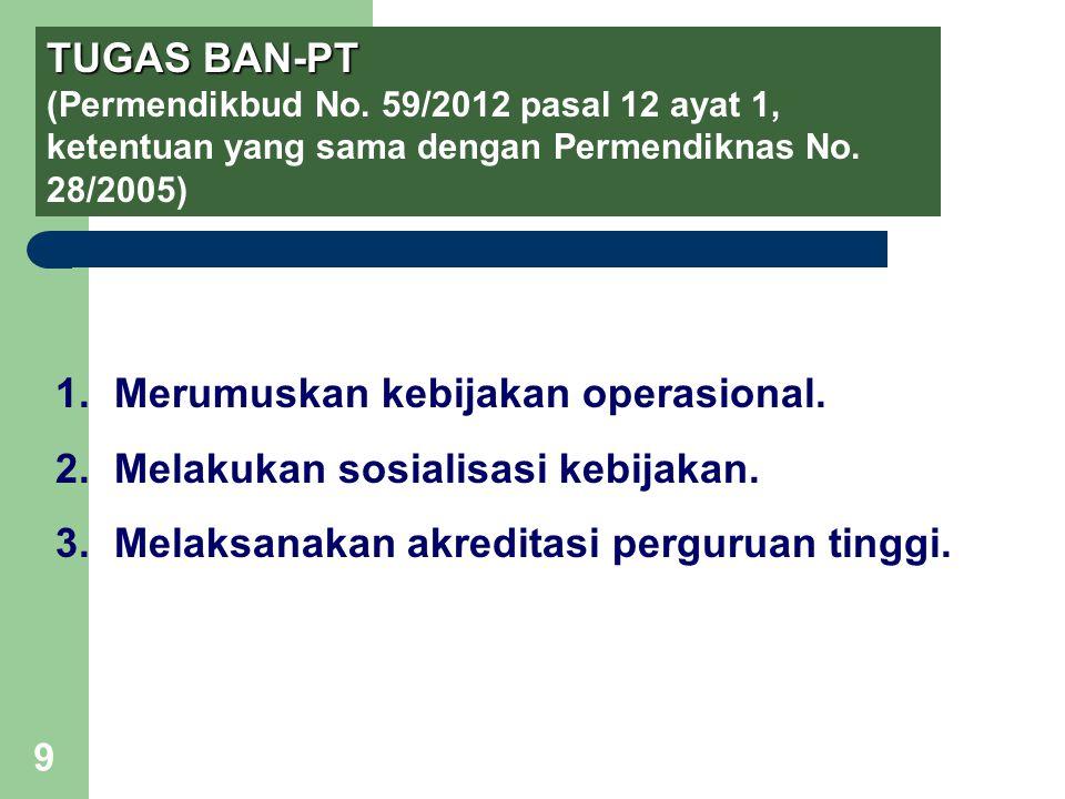 9 TUGAS BAN-PT TUGAS BAN-PT (Permendikbud No. 59/2012 pasal 12 ayat 1, ketentuan yang sama dengan Permendiknas No. 28/2005) 1.Merumuskan kebijakan ope