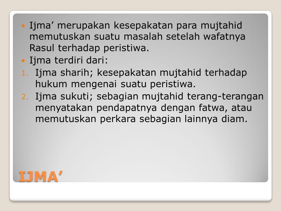 IJMA'  Ijma' merupakan kesepakatan para mujtahid memutuskan suatu masalah setelah wafatnya Rasul terhadap peristiwa.