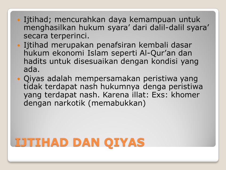 IJTIHAD DAN QIYAS  Ijtihad; mencurahkan daya kemampuan untuk menghasilkan hukum syara' dari dalil-dalil syara' secara terperinci.