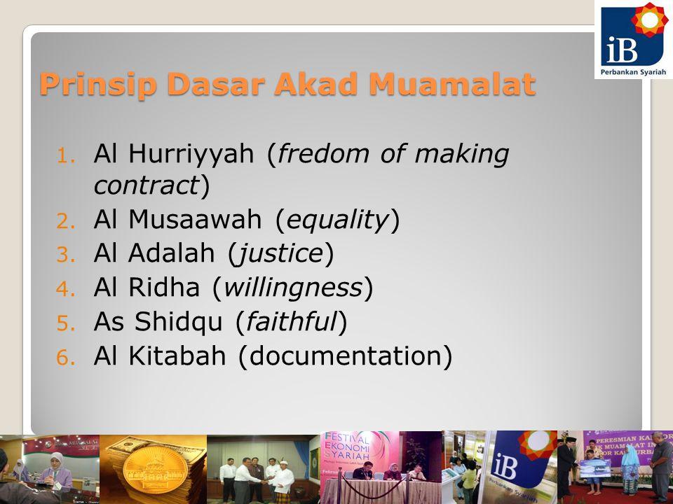 Prinsip Dasar Akad Muamalat 1.Al Hurriyyah (fredom of making contract) 2.