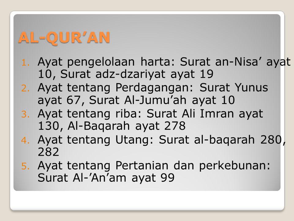 AL-QUR'AN 1.Ayat pengelolaan harta: Surat an-Nisa' ayat 10, Surat adz-dzariyat ayat 19 2.