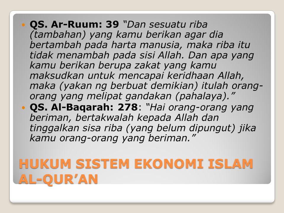HUKUM SISTEM EKONOMI ISLAM AL-QUR'AN  QS.