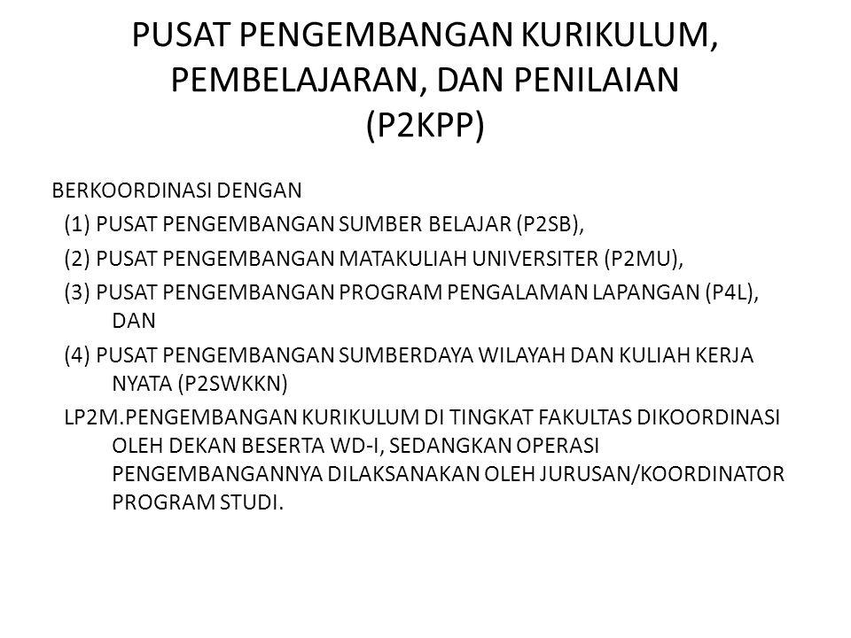 PUSAT PENGEMBANGAN KURIKULUM, PEMBELAJARAN, DAN PENILAIAN (P2KPP) BERKOORDINASI DENGAN (1) PUSAT PENGEMBANGAN SUMBER BELAJAR (P2SB), (2) PUSAT PENGEMB