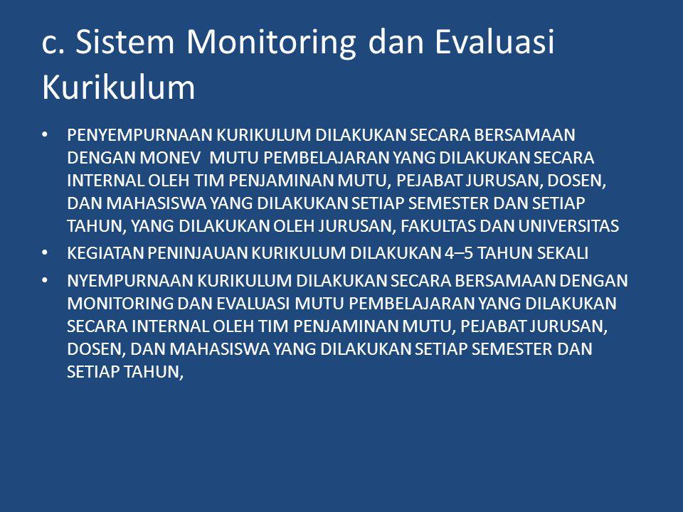 c. Sistem Monitoring dan Evaluasi Kurikulum • PENYEMPURNAAN KURIKULUM DILAKUKAN SECARA BERSAMAAN DENGAN MONEV MUTU PEMBELAJARAN YANG DILAKUKAN SECARA