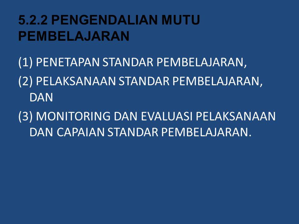 5.2.2 PENGENDALIAN MUTU PEMBELAJARAN (1) PENETAPAN STANDAR PEMBELAJARAN, (2) PELAKSANAAN STANDAR PEMBELAJARAN, DAN (3) MONITORING DAN EVALUASI PELAKSA