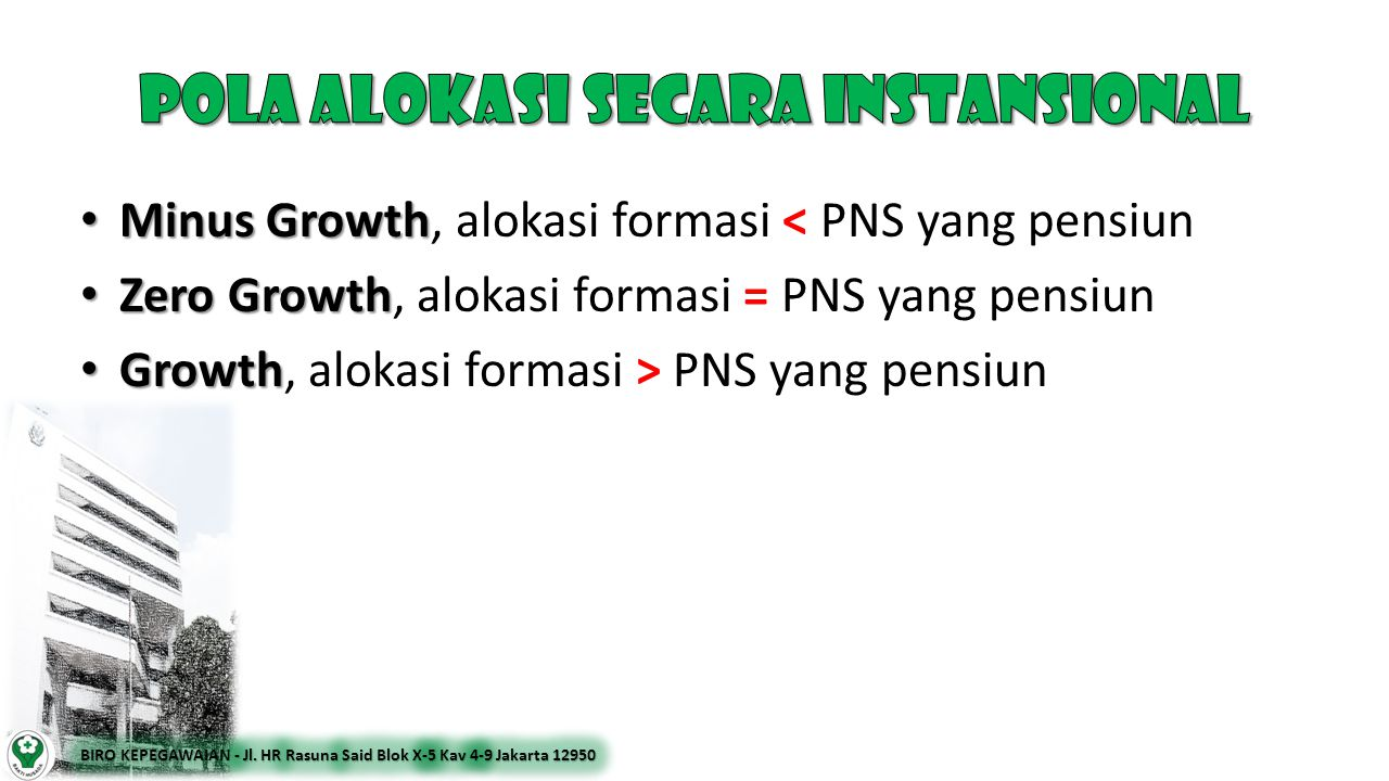 • Minus Growth • Minus Growth, alokasi formasi < PNS yang pensiun • Zero Growth • Zero Growth, alokasi formasi = PNS yang pensiun • Growth • Growth, a