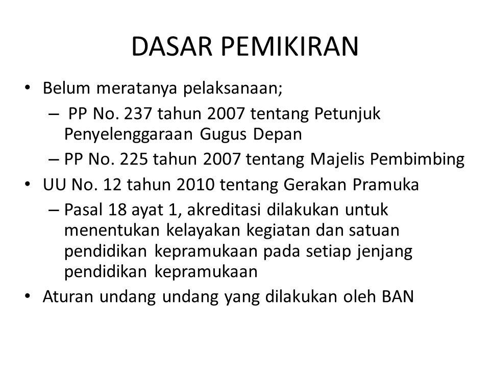 DASAR PEMIKIRAN • Belum meratanya pelaksanaan; – PP No. 237 tahun 2007 tentang Petunjuk Penyelenggaraan Gugus Depan – PP No. 225 tahun 2007 tentang Ma