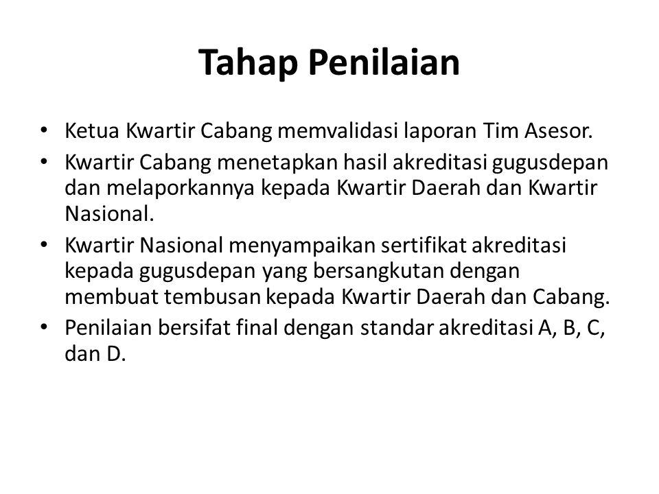 Tahap Penilaian • Ketua Kwartir Cabang memvalidasi laporan Tim Asesor. • Kwartir Cabang menetapkan hasil akreditasi gugusdepan dan melaporkannya kepad