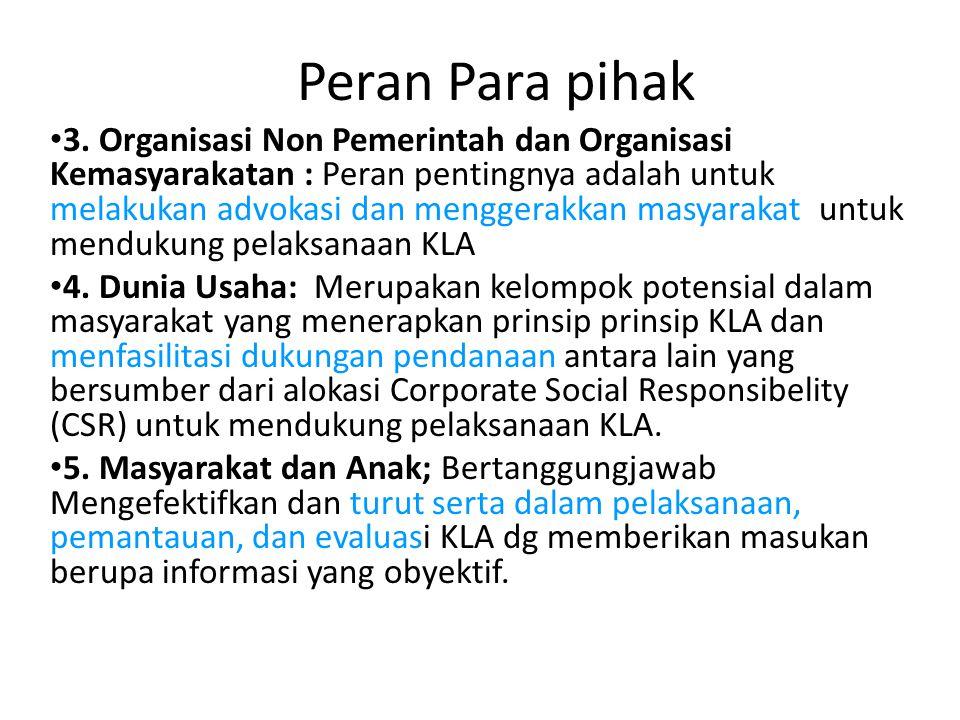 Peran Para pihak • 3. Organisasi Non Pemerintah dan Organisasi Kemasyarakatan : Peran pentingnya adalah untuk melakukan advokasi dan menggerakkan masy
