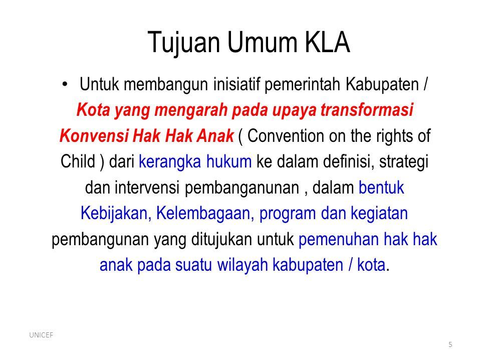 Tujuan Umum KLA • Untuk membangun inisiatif pemerintah Kabupaten / Kota yang mengarah pada upaya transformasi Konvensi Hak Hak Anak ( Convention on th