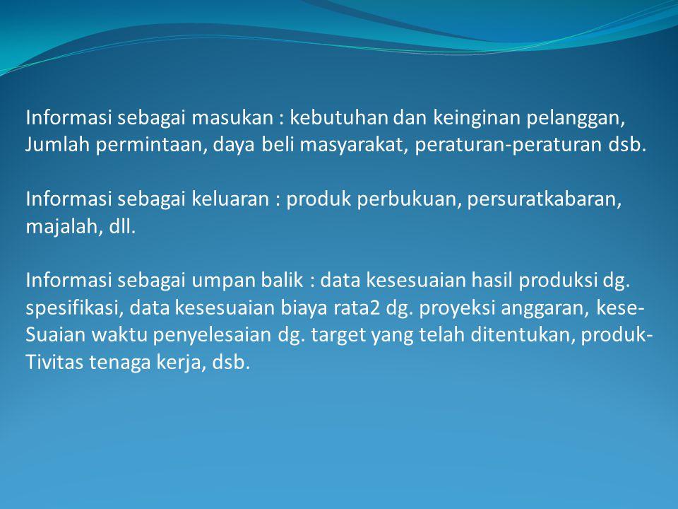 Informasi sebagai masukan : kebutuhan dan keinginan pelanggan, Jumlah permintaan, daya beli masyarakat, peraturan-peraturan dsb. Informasi sebagai kel