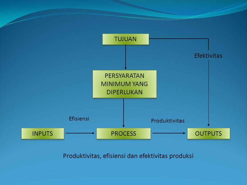 PERSYARATAN MINIMUM YANG DIPERLUKAN PROCESS INPUTS OUTPUTS Efektivitas Efisiensi Produktivitas TUJUAN Produktivitas, efisiensi dan efektivitas produks