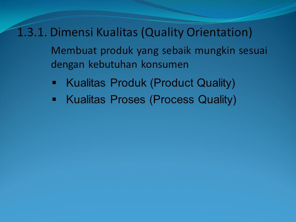 Membuat produk yang sebaik mungkin sesuai dengan kebutuhan konsumen 1.3.1. Dimensi Kualitas (Quality Orientation)  Kualitas Produk (Product Quality)