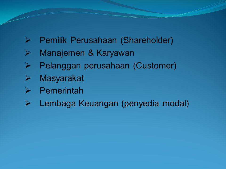  Pemilik Perusahaan (Shareholder)  Manajemen & Karyawan  Pelanggan perusahaan (Customer)  Masyarakat  Pemerintah  Lembaga Keuangan (penyedia mod